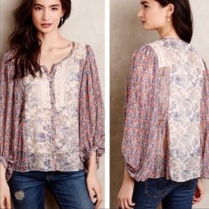{Anthro} HD in paris floral crochet top size 2